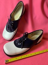 Vintage 1960s Hi Brows Navy & White Saddle Oxford Shoes Nos Size 8 Aa 60s Vegan