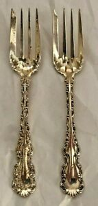 VINTAGE WHITING STERLING SILVER SALAD FORKS (PATTERN: LOUIS XV) (2 AVAILABLE)