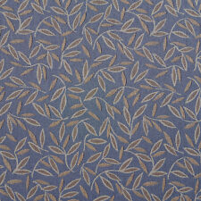 E200 Blue Brown Floral Leaf Residential Contract Upholstery Fabric By The Yard