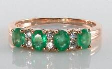 CLASSIC 9K 9CT ROSE GOLD EMERALD & DIAMOND ETERNITY RING FREE RESIZE