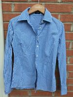 J Crew Women's Long Sleeve Button Up Shirt Blue White Blue Stripe Career Size SP