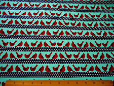 Kaufman Christmas Fabric By Yard Red Cardinal Birds Teal & Navy Stripes Cotton