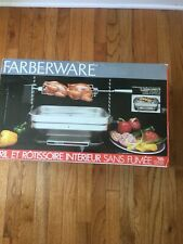 FARBERWARE SMOKELESS INDOOR GRILL R4550 ROTISSERIE ROAST BARBECUE folding NEW