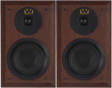 Wharfedale Denton Loudspeakers - Bookshelf Stereo Pair Home 80th Mahogany Red