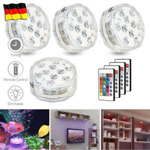 4X RGB Unterwasser Poollicht LED Poolbeleuchtung Poollampe mit 4X Fernbedienung