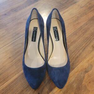 INC International Concepts | Zitah Blue Suede Leather Point Toe Pumps Heels Size