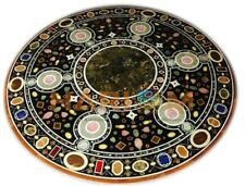 3'x3' Marble Round Coffee Table Top Precious Mosaic Inlay Living Room Decor B362