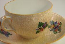 20s Crown Staffordshire Art Deco Orange Chintz Fruit Mofit Tea Cup Saucer 672606