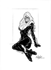 Black Cat original art pinup by Gus Vazquez