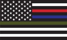 Thin Blue Red Green Line American Flag Vinyl Decal Car Window Sticker