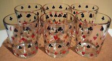 6 Vintage Poker Glasses Card Suits Old Schwartz's Mustard Jars