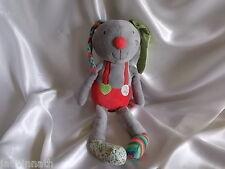 Doudou lapin gris, rouge, vert, Ebulobo