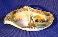 Noritake Folded Dish With Basket Handle - Hand Painted Tree In Meadow - Japan