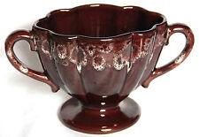 Vintage Brown Honeycomb Glaze Double Handled Fluted Vase Kernewek, Cornwall