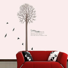 Removable Art Decor Black Love Poem by Robert  Wall Decal Tall Tree with Birds