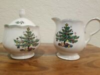 Nikko Japan ~ Happy Holidays Christmas Tree~ Sugar Bowl w/Lid and Creamer Set
