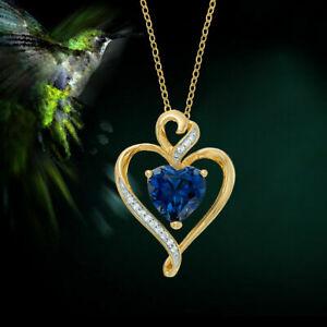 1.20 Ct Blue Sapphire & Diamond Heart Pendant Necklace 14k Yellow Gold Finish