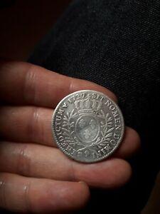 Piece monnaie Louis XV demi ecu aux branches d'oliviers argent 1727 9 Rennes