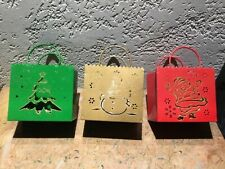 Christmas Holiday Design Glittered Metal Votive Candle Luminaries - Set of 3