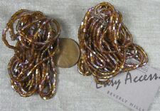 Pair of Nice Vintage Brown Glass Bead Dangle Pom Pom Clip-on Earrings Easy Acces