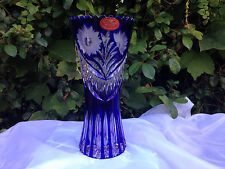 "EAST GERMANY SCHONBORNER 8"" COBALT BLUE HAND CUT 24% LEAD CRYSTAL VASE MINT"