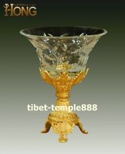 23 cm Western art deco bronze Glass Flower candies cup Plates tray dish salver