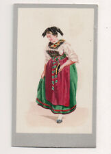 Vintage CDV Handpainted Alsace Lorraine France Traditional National Costume