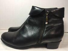 Spring Step Womens Black Leather Ankle Boots  Side Zip Size 8.5 M (110)