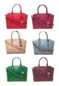 Michael Kors Ciara Large Top Zip Saffiano Leather Satchel Crossbody Bag