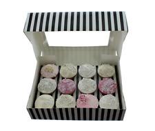 BLACK & WHITE STRIPE Cupcake Box with PVC Window (holds 12 cupcakes)