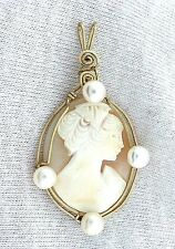 Gold Filled Sterling Silver Wirewrapped Cameo Gem Stone  Pearl Gemstone Pendant