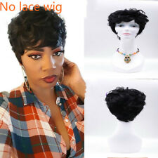 Short Pixie Cut Wavy Human Hair No lace Wigs For Women Natural Black Remy Hair