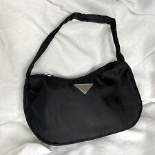 Boutique Blogger Black Nylon Baguette Mini Handbag Bag Triangle Logo