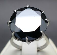 22.07cts 19.19mm Real Natural Black Diamond Ring AAA Grade & $11,235 Value