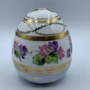 Handpainted Porcelain Elegant Large Floral Decorative Egg Artist Signed