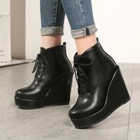 Women's Round Toe Lace Up Platform High Wedge Heel Casual Ankle Boots LMH15
