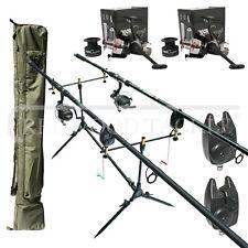 Carp Fishing set up Lineaeffe 2 Rods Reels Bite Alarms Holdall Rod Pod
