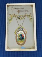Vintage THANKSGIVING GREETINGS Turkey Medallion #2895 Printed in Germany 1910s?