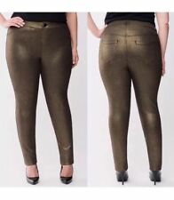 A1 Lane Bryant 28 Gold/Black Metallic Stretch Leggings  Pants Plus Size 28 NWOT