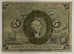 1863 $.05 Fifth Issue Fractional Currency Obsolete Bank Note Bill 5c