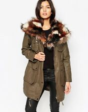 Urbancode Military Biker Parka Jacket With Patchwork Faux Fur Collar Size 10