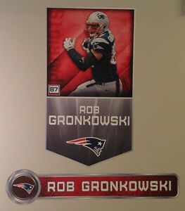 """Rob Gronkowski FATHEAD Lot of (2) Player Banner 29""""x16"""" & Name Sign 32"""" Patriots"""