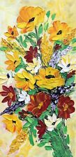 Original Oil Painting Stretch Canvas 8 x 16� Palette Knife Flowers Art by Angela