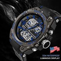 SANDA 6024 Men's Army Digital LED Alarm Date Waterproof Quartz Sport Wrist Watch