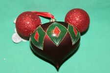 DISNEY PARK MICKEY EARS RED GREEN GLITTERED GLASS  BALL CHRISTMAS ORNAMENT NEW