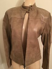 PLEIN SUD Brown Leather Moto Jacket with Zipper Shelves Size 8 Made in France