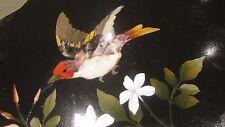 antigua placa scagliola italiana 19e siglo aves flores marquetería piedra