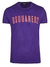 DSQUARED2 Men's Purple Logo Short Sleeve T-Shirt Cotton Graphic Designer