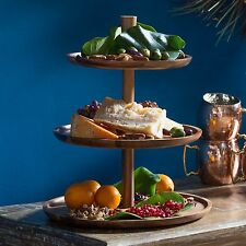 Wood Tiered Stand Server Tray 3 Tier Party Dinner Serving Food Fruit Buffet