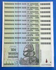 ! ZIMBABWE 10 * $10 Trillion banknotes Uncirculated. TOTAL = $100 TRILLION cash!